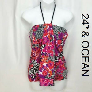 24th & Ocean Halterneck Bandeau Tankini Top XL